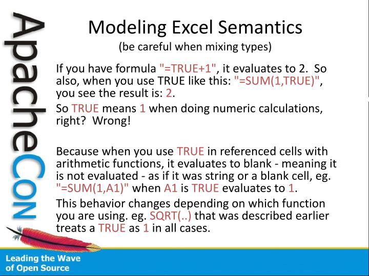 Modeling Excel Semantics