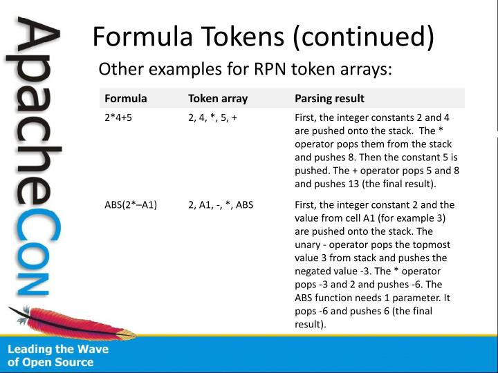 Formula Tokens (continued)
