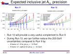 expected inclusive jet a ll precision