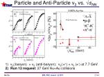 particle and anti particle v 2 vs s nn