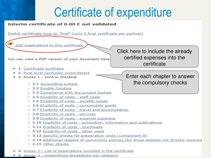 Certificate of expenditure