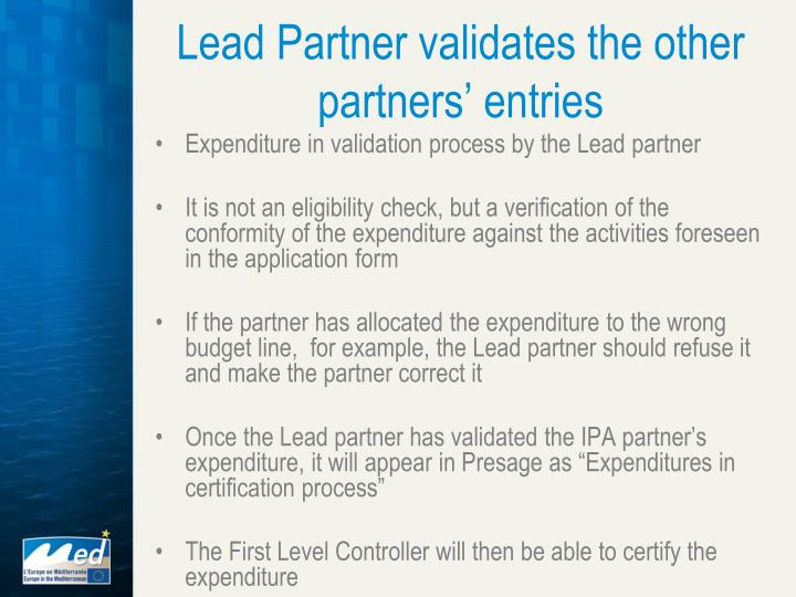 Lead Partner validates the other partners' entries