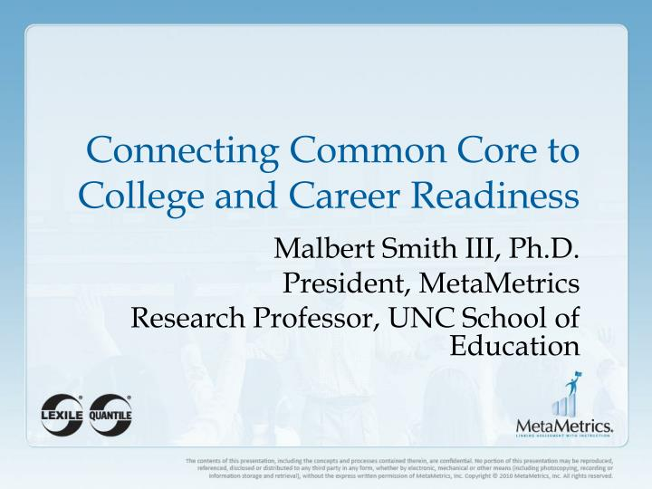 connecting common core to college and career readiness n.