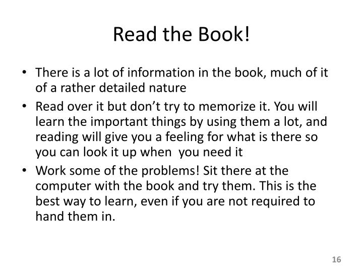 Read the Book!