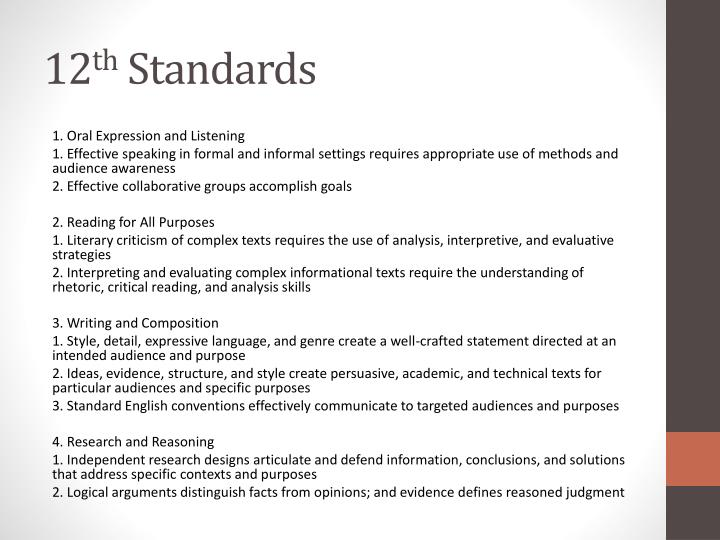 12 th standards