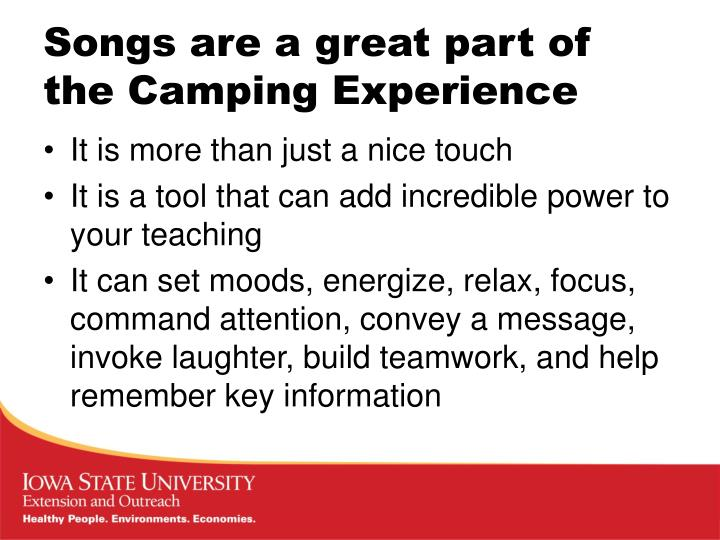 Songs are a great part of the camping experience