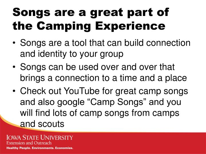 Songs are a great part of the camping experience1
