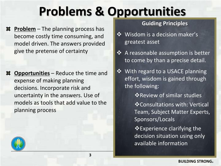 Problems opportunities