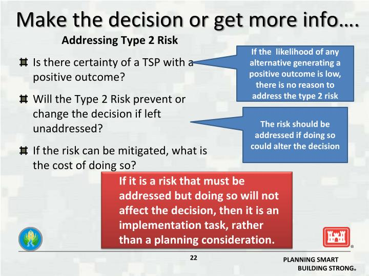 Make the decision or get more info….