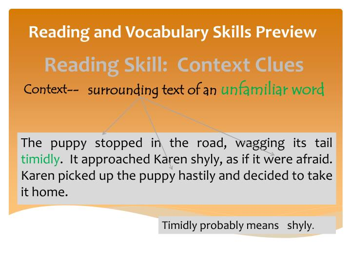 Reading and vocabulary skills preview