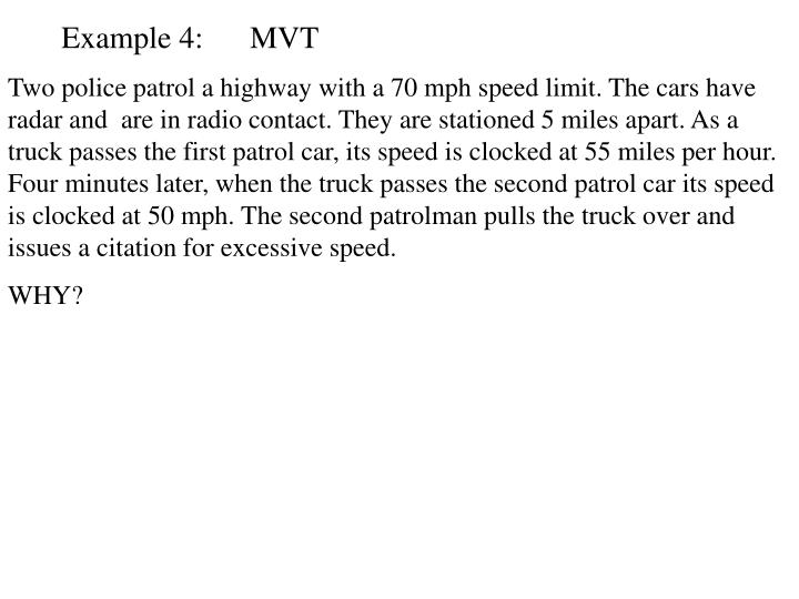 Example 4:      MVT