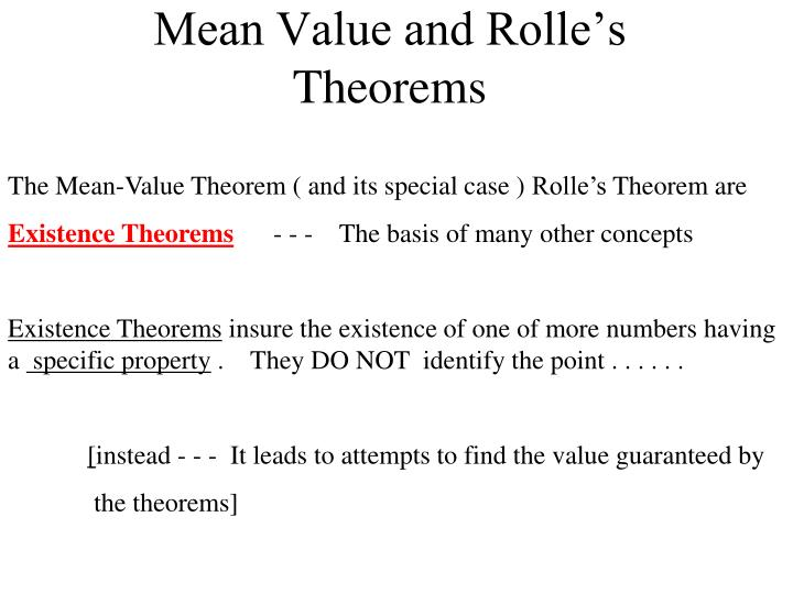 Mean value and rolle s theorems