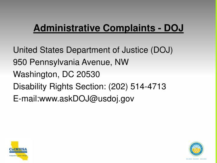 Administrative Complaints - DOJ