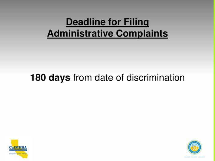Deadline for Filing