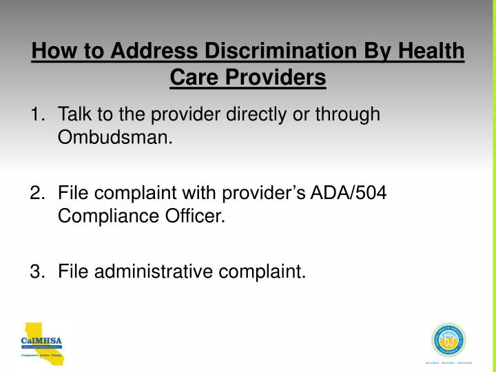 How to Address Discrimination By Health Care Providers
