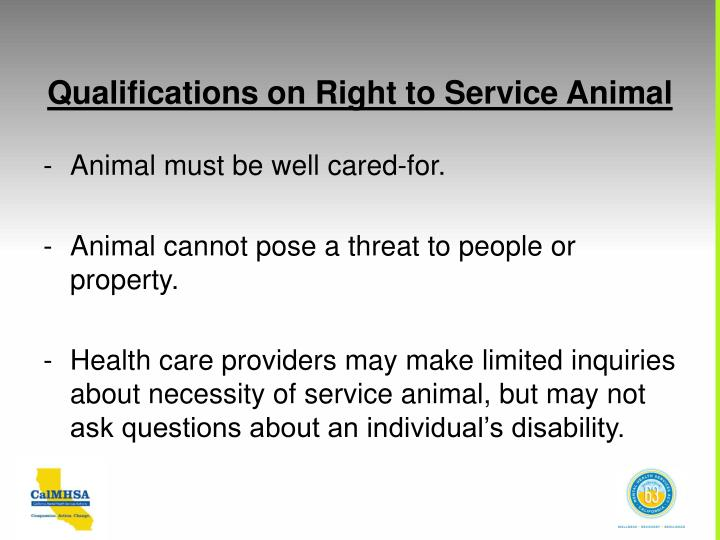 Qualifications on Right to Service Animal