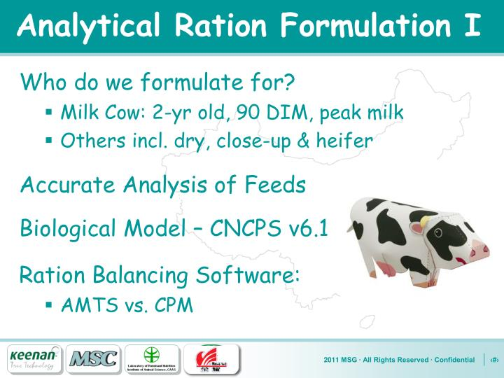 Analytical Ration Formulation I