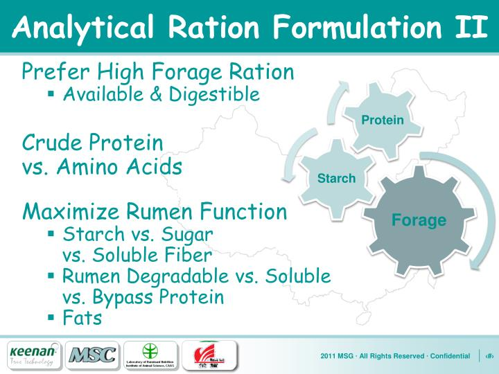 Analytical Ration Formulation II