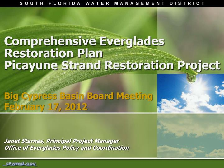 an analysis of the article the comprehensive everglades restoration plan Comprehensive everglades restoration plan, cerp the cerp was authorized by congress in 2000 as a plan to restore, preserve, and protect the south florida ecosystem while providing for other water-related needs of the region, including water supply and flood protection.