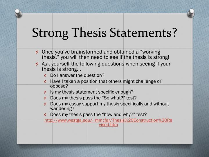 Ppt Crafting Thesis Statements And Utilizing Topic