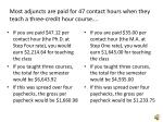 most adjuncts are paid for 47 contact hours when they teach a three credit hour course