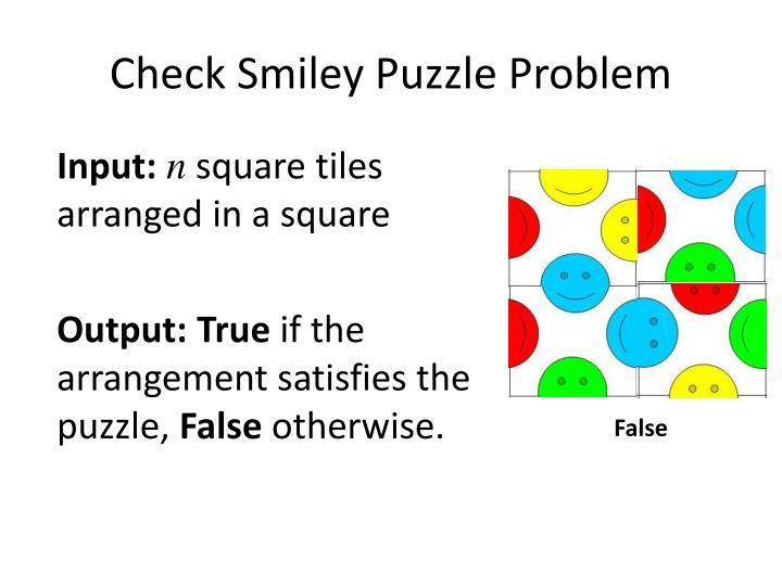 Check Smiley Puzzle Problem