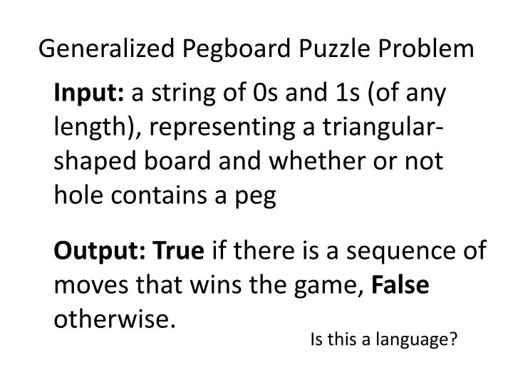 Generalized Pegboard Puzzle Problem
