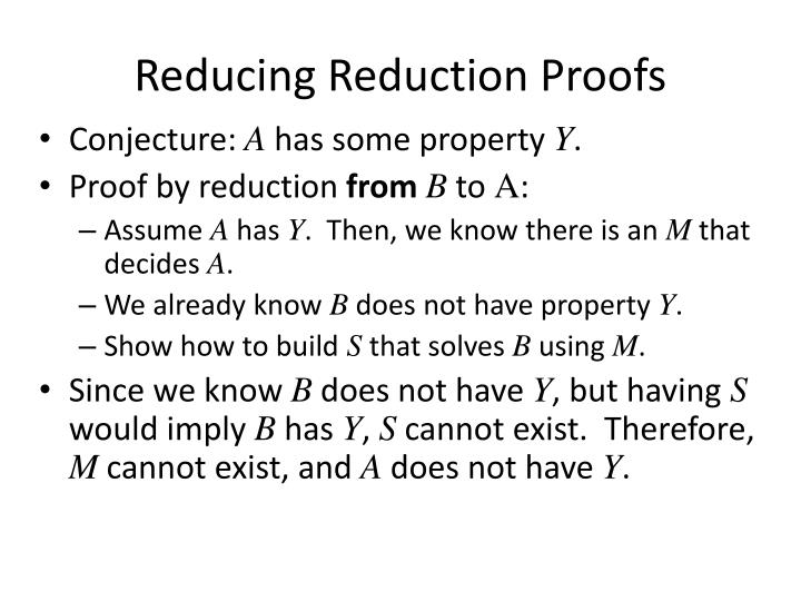 Reducing Reduction Proofs