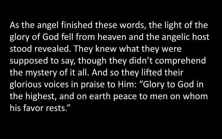 """As the angel finished these words, the light of the glory of God fell from heaven and the angelic host stood revealed. They knew what they were supposed to say, though they didn't comprehend the mystery of it all. And so they lifted their glorious voices in praise to Him: """"Glory to God in the highest, and on earth peace to men on whom his favor rests."""""""