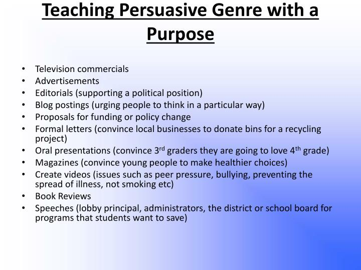 Teaching Persuasive Genre with a Purpose