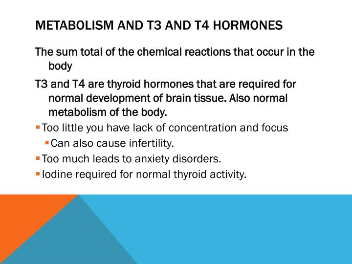 Metabolism and T3 and T4 hormones