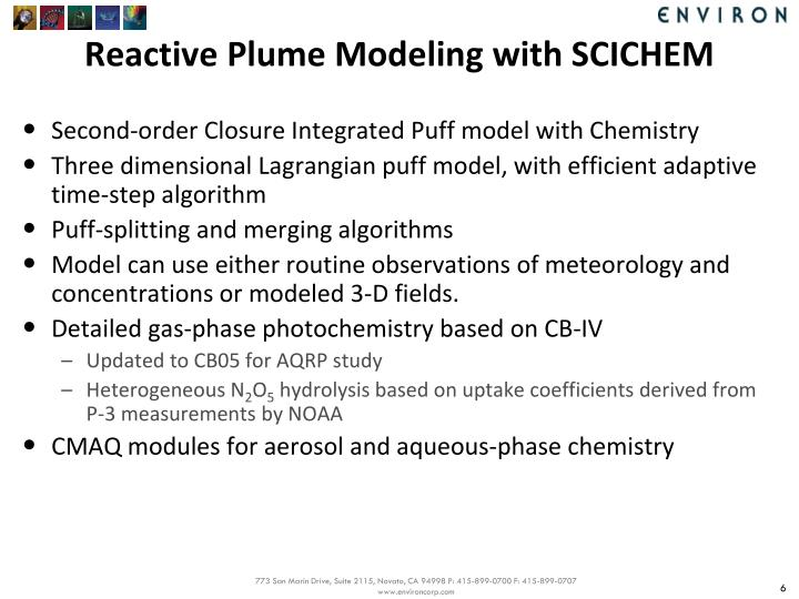 Reactive Plume Modeling with SCICHEM