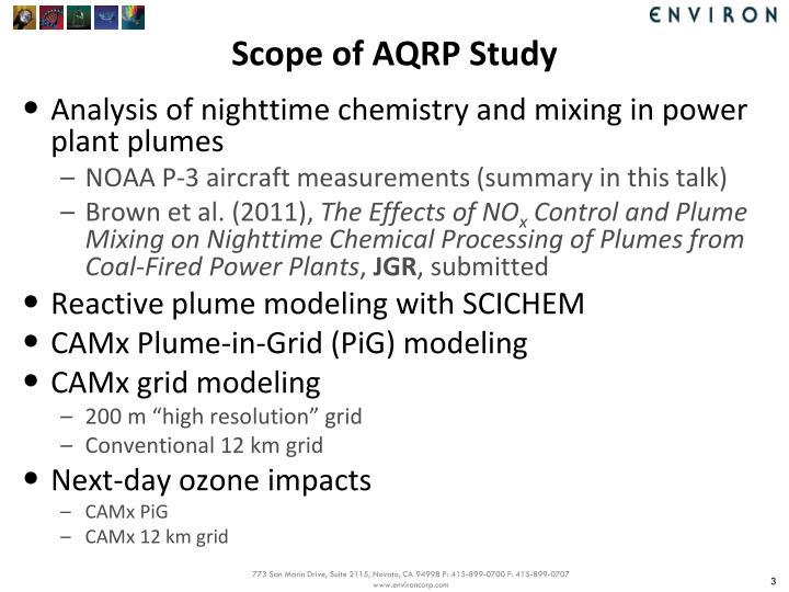 Scope of aqrp study