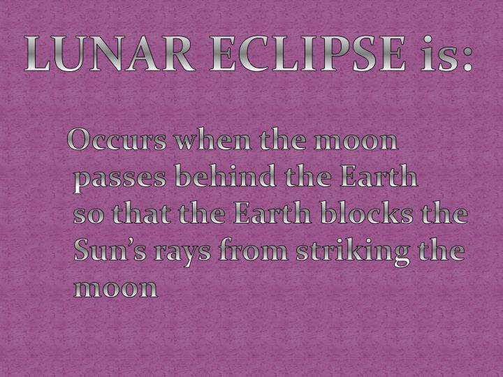 LUNAR ECLIPSE is: