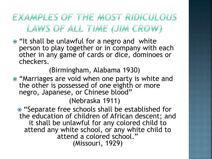 Ppt Jim Crow Laws Powerpoint Presentation Id2426456