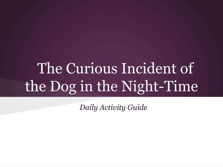 the realization of the curious incident of the dog in the night time and the display of the mental d