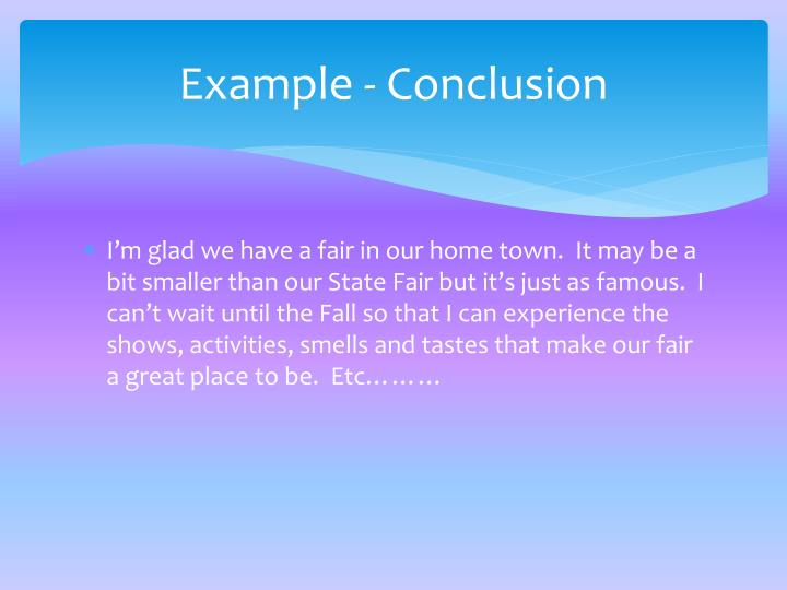 Example - Conclusion