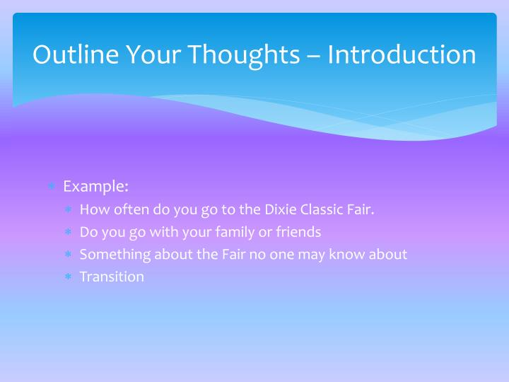 Outline Your Thoughts – Introduction