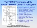 the trend technique and the partial thickness universal nomogram