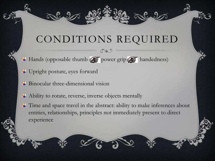 Conditions required
