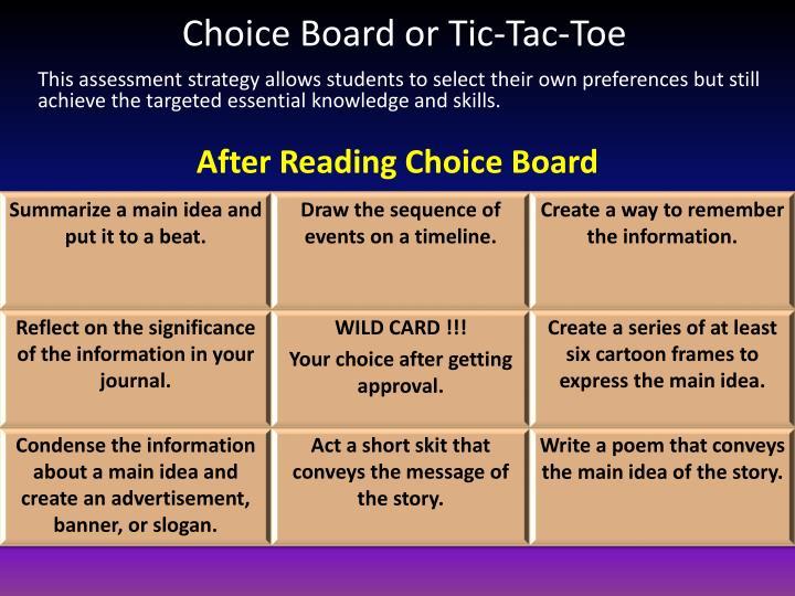 Choice Board or Tic-