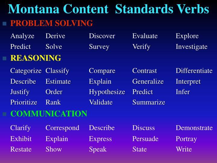 Montana Content  Standards Verbs