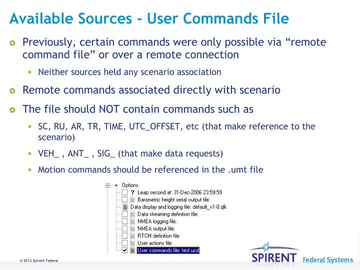 Available Sources - User Commands File