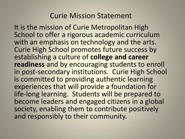 Curie Mission Statement