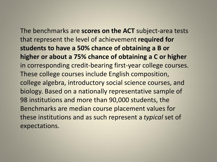 The benchmarks are