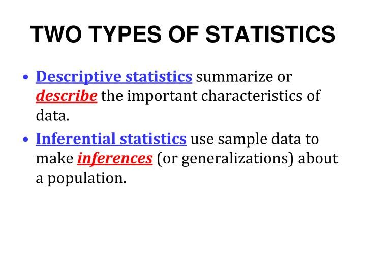 descriptive and inferentail statistics Descriptive and inferential statistics math tip descriptive statistics are numbers that are used to summarize and describe data the word data refers to the information that has been collected from an experiment, a survey, a historical record, etc.