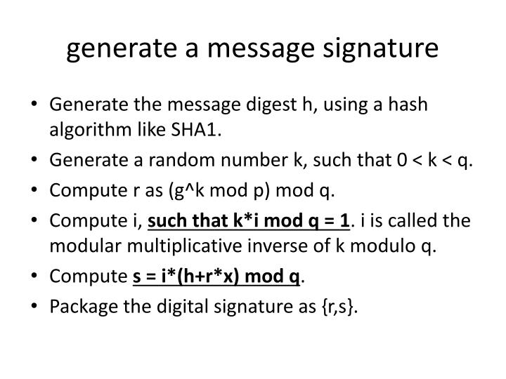 generate a message signature