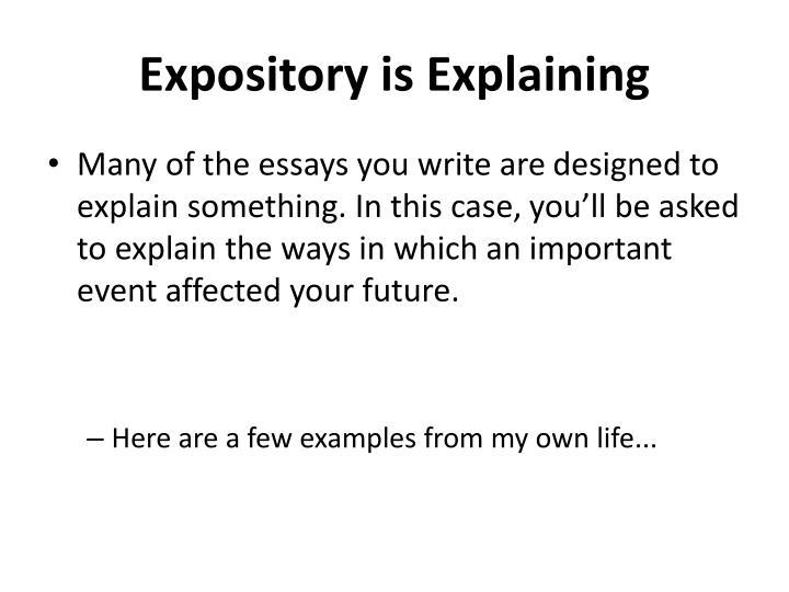 Expository is explaining