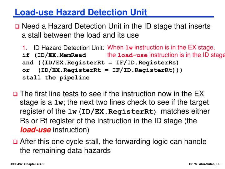 Load-use Hazard Detection Unit