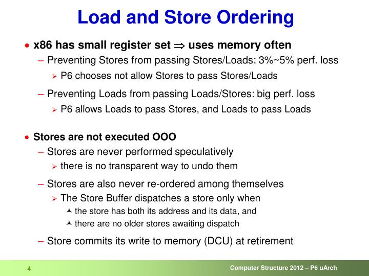 Load and Store Ordering